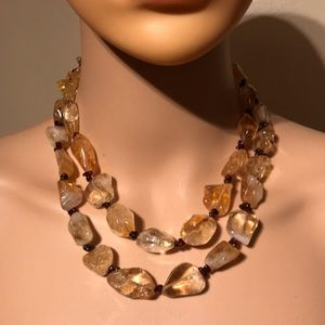 Vintage double layer citrine and garnet necklace